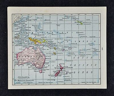 1917 Mcnally Map Oceania Australia New Zealand Sydney Hawaii
