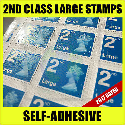100x 2nd Class LARGE Postage Stamps 2017 Royal Mail BRAND NEW Second Stamp Sheet