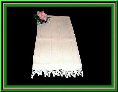 Lovely Antique Linen Damask Large Towel With  Crocheted Lace Trim 36 By 20