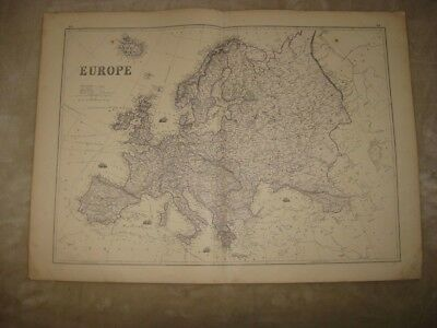 Huge Gorgeous Antique 1875 Europe Map Russia Germany France Maritime Ship Areas