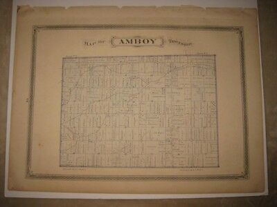 Vintage Antique 1875 Amboy Township Fulton County Ohio Handcolored Map Rare