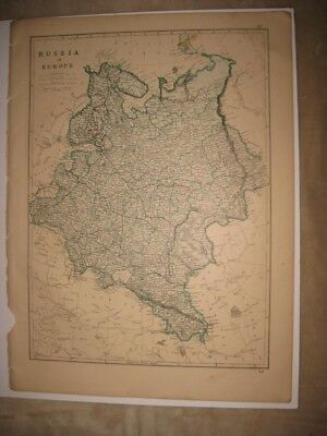 Huge Antique 1875 Russia In Europe Switzerland Map Mountain Climbing Interest Nr