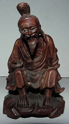 China :  Vintage Hand Carved Wooden Figure - Fisherman
