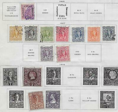 14 Montenegro Stamps from Quality Old Album 1905-1910