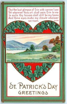 Vintage ST. PATRICK'S DAY GREETINGS Embossed Arts and Crafts Border Postcard