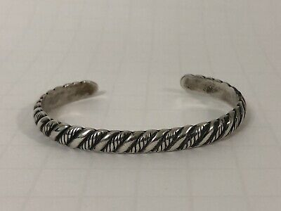 """Vintage Solid Sterling Silver 6.5"""" Cuff Braclet Unsigned No Reserve"""