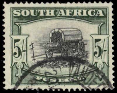 "SOUTH AFRICA 66a (SG122a) - Ox Wagon ""1954 Type II Deep Yellow Green"" (pa82508)"