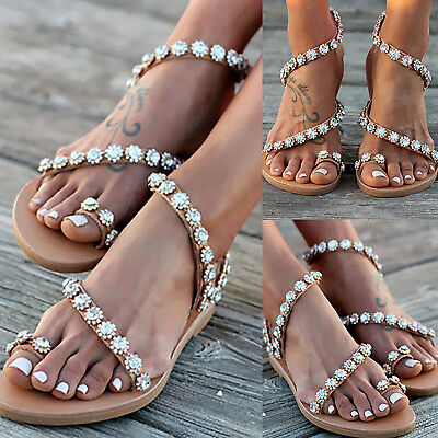 4ecad1a0f99 Women s Summer Boho Rhinestone Clip Toe Flat Sandals Flip Flops Beach Shoes  Size