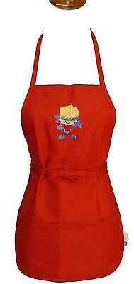 Super Hero Boy Comic Book Kid Monogram Apron Red Youth Small Child Size Gift NWT