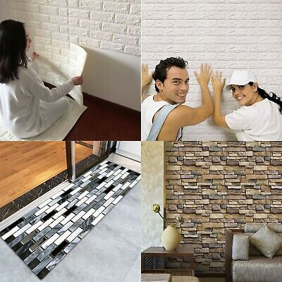 1~2PCS 3D Wall Paper Brick Stone Rustic Effect Wall Sticker Wallpaper Decor US