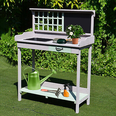 Outdoor Wooden Potting Table Bench Workstation Planting Shelves
