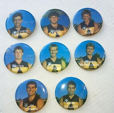 8 Brisbane Bears Player Badges From 1987 - First Year In The Vfl / Afl