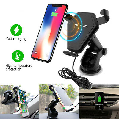 10W Qi Wireless Fast Charger Car Mount Holder Stand For iPhone X 8 Samsung S9 S8