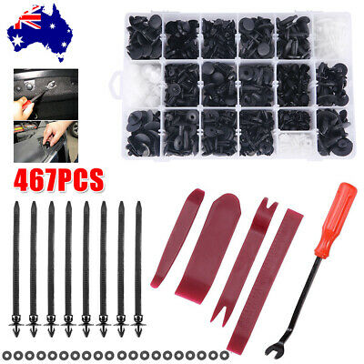 467PCS Rivet Retainer Door Panel Bumper Plastic Fastener Car Body Trim Clips Kit