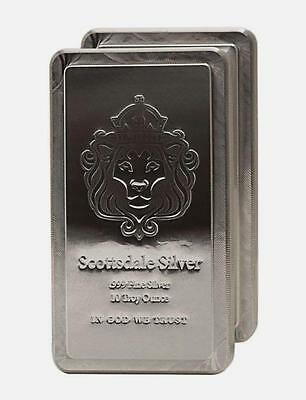 *GREAT INVESTMENT!* (1)-10 Troy oz 999 FN SILVER *Scottsdale Stacker Bar+EXTRAS!