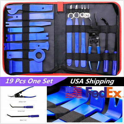 19 Pcs USA Stock Car Truck Upholstery Fastener Trim Removal Tool Clips Plier Set