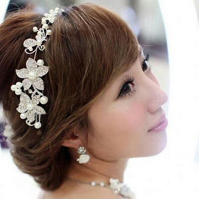 Elegant Wedding Flower Crystal Rhinestone Bling Hair Band Headband Hoop Bride BS