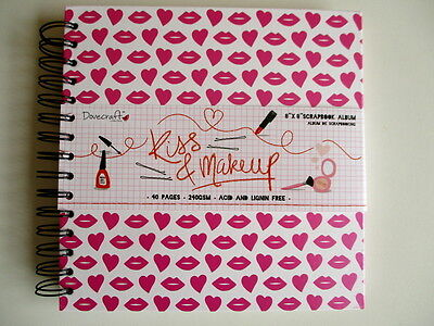 "Dovecraft 8x8"" Kiss & Makeup Scrapbook Album - pink Lips & Hearts - ring bound"