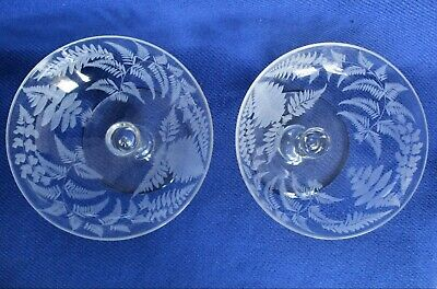 2 Victorian crystal bon bon hollow stem dishes tazzas champagne saucers glasses