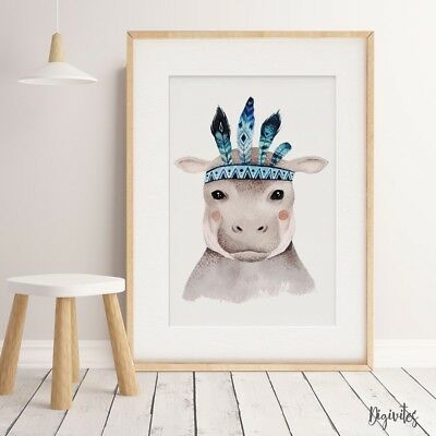 Baby, Boy Girl Nursery Wall Art Prints Boho Safari Tribal Animals. Nursery print