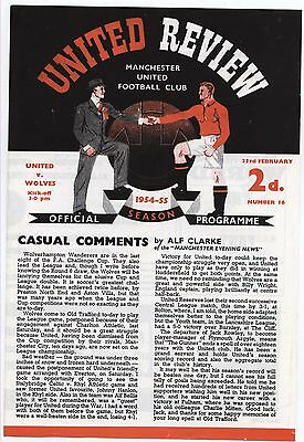 Manchester United v Wolves 1954/55 PROGRAMME - POSTFREE to UK