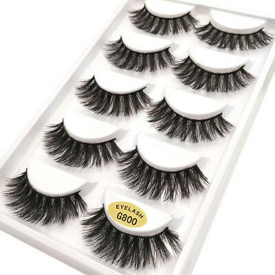 Pack of 5 3D Mink False Eyelashes Wispy Cross Long Thick Soft Fake Eye Lashes