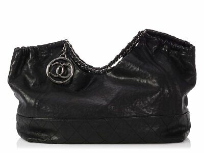 4965aff22b15c1 CHANEL Extra Large Black Calfskin Coco Cabas Bag Purse ~ Incredibly soft!
