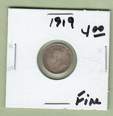 1919 Canadian 5 Cents Silver Coin - Fine