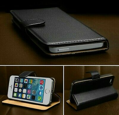 For iPhone 5S 5 SE Case Luxury Real Genuine Leather Magnetic Flip Wallet Cover