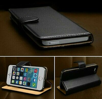 For iPhone SE 5S 5 Case Luxury Real Genuine Leather Magnetic Flip Wallet Cover
