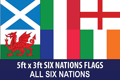 Six Nations Flags 5x3 All 6 Nations England Ireland Wales France Scotland Italy