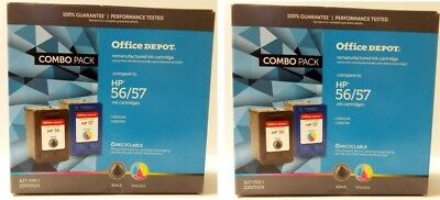 2 Pack Refurbished Ink Cartridge Combo for HP 56 57 C6656AN C6657AN