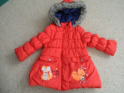 Nutmeg girls red quilted padded coat age 2-3 years