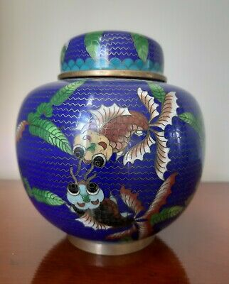 Very Fne Chinese Cloisonne Lidded Ginger Jar Ruyie Motif Rare Koi Fish Design