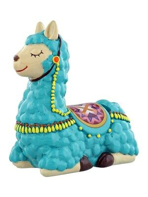 Money Box Sleepy Llama - Turquoise 14x14x7.5cm
