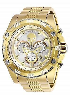 Invicta Marvel Punisher Skull Chronograph Silver Dial Gold Men's Watch 26864 SD