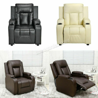 Leather Recliner Armchair Sofa Chair with Drink Holders Reclining Lounge Cinema