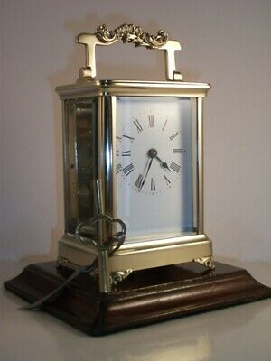 Good Quality Antique Brass Carriage Clock With Unusual Case.. Key.