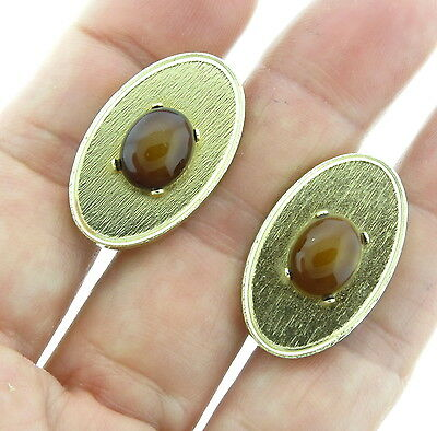 Vintage Tiger Eye Goldtone Cufflinks Dante