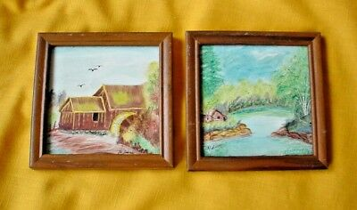 2 Original Mini Tile Primitive PAINTINGS OLD MILL & CABIN in the woods Framed