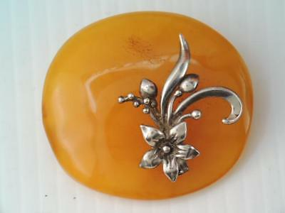 Antique Russian Sterling Silver Baltic Amber Flower Pin Signed Look