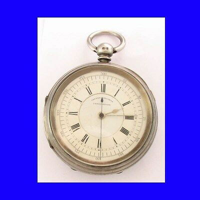 Superb Jewish Silver Fusee Rabinovitch of  Leeds Centre Sec's Chrono Watch 1901