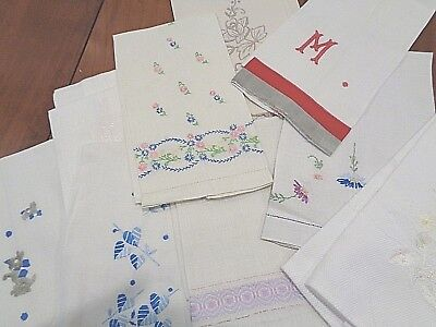 Lot of 12 Antique Linen Hand Towels some matching pairs