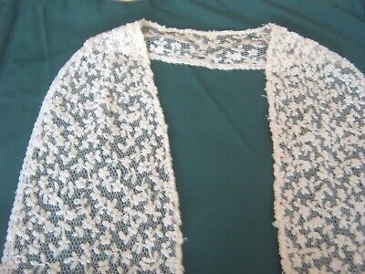 ** Vintage Lace - Embroidered Tulle With Lace Border - Shawl Collar [K]