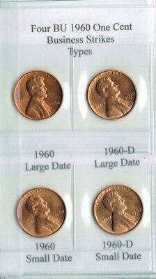 1960 P & D All 4 Small and Large Date Brilliant Uncirculated  Lincoln Cent Types