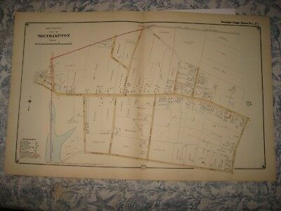 Antique 1916 Southampton Northwest Part Suffolk County New York Handcolored Map