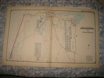 Antique 1916 Southampton Riverhead Long Island New York Handcolored Map Rare Nr