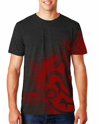 Game of Thrones House Targaryen Fire and Blood Mens Black Heather T-shirt Tee