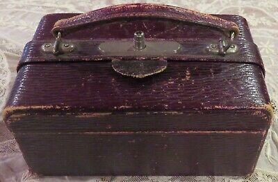 """Antique Victorian Travel Leather Jewelry Case 6"""" Long"""