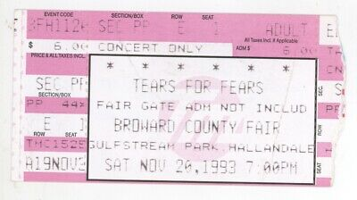 COOL Tears For Fears 11/20/93 Hollywood FL Concert Ticket Stub! TFF